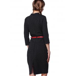 OL 3/4 Sleeve Plaid Bodycon Dress For Women -