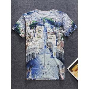 Round Neck Short Sleeve 3D City View Printed T-Shirt For Men -