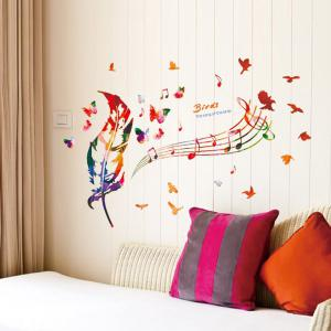 Music Score Feather Removable Waterproof Wall Stickers - COLORMIX