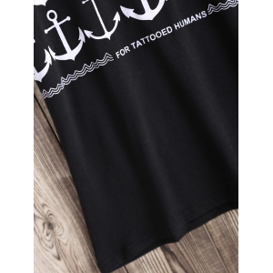 Chic Arrow and Letter Pattern Tee - BLACK XL