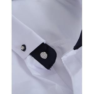 Classic Button-Down Collar Long Sleeve Solid White Shirt For Men -