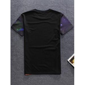 Round Neck Short Sleeve 3D Game Screen Printed T-Shirt For Men - BLACK 2XL