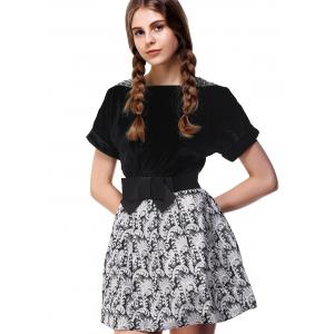 Charming Pleuche Bowknot Bubble Dress For Women -