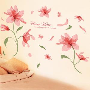 Sweet Flower Pattern Removable Waterproof Wall Stickers - COLORMIX