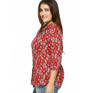 Plus Size Tiny Floral Print Shirt -