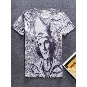 3D Figure Printed Round Neck Short Sleeve T-Shirt For Men - GRAY XL