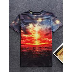 3D Sunset Printed Crew Neck T Shirt - RED 2XL