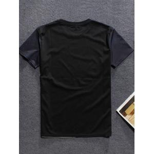 3D Mountain Printed Round Neck Short Sleeve T-Shirt For Men - BLACK 2XL