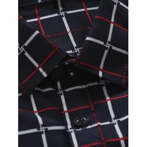 Slim Fit Turn-Down Collar Long Sleeve Checked Shirt For Men - RED 2XL
