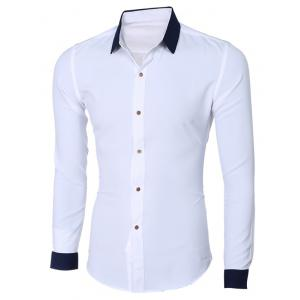 Fashion Hit Color Turn-Down Collar Long Sleeve Shirt For Men - WHITE 2XL