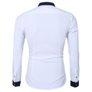 Fashion Hit Color Turn-Down Collar Long Sleeve Shirt For Men -