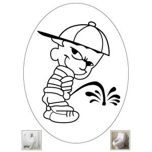 Cute Cartoon Pee Bad Boy Removable Bathroom Wall Stickers -