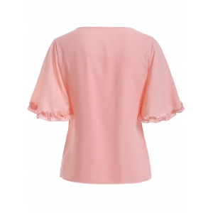 Trendy Flounce Solid Color Chiffon Blouse -