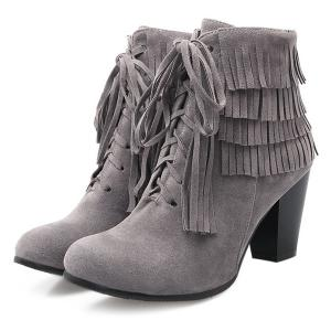 Trendy Tie Up and Tassels Design Ankle Boots For Women - GRAY 39