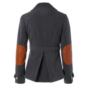Vintage Lapel Buttoned Elbow Faux Leather Spliced Swallow-Tailed Jacket For Women - DEEP GRAY L