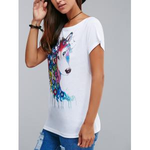 Stylish Flower and Dog Pattern 3D Ink Printing T-Shirt - WHITE XL