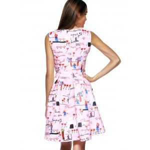 Endearing Scoop Neck Printed Pleated Dress For Women -