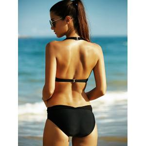 Alluring Push Up Black Voile Splicing Women's Swimwear - BLACK XL