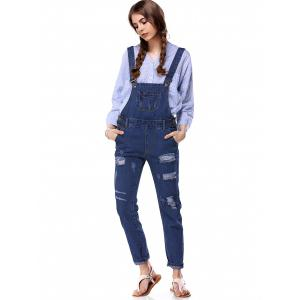 Trendy Destroyed Button Up Side Denim Overalls -