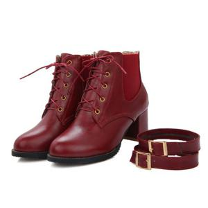 Fashionable Buckle and Elastic Band Design Ankle Boots For Women - WINE RED 37