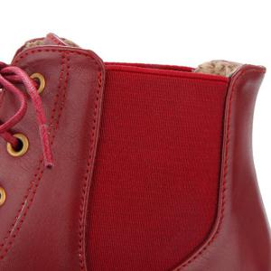 Fashionable Buckle and Elastic Band Design Ankle Boots For Women - WINE RED 39