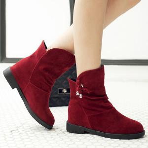Concise Solid Color and Increased Internal Design Short Boots For Women -