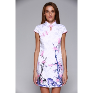 Classical Beauty Plate Button Plum Blossom Cheongsam -