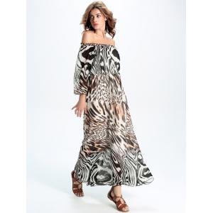 Off-The-Shoulder Leopard Chifon Dress -