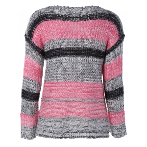 Long Sleeve Colorful Striped Sweater - STRIPE ONE SIZE