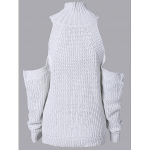 High Neck Cut Out Pure Color Sweater - WHITE ONE SIZE