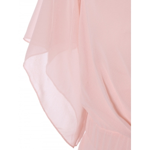 Petal Sleeve Knee Length Plunging Neck Pleated Dress - PINK 2XL