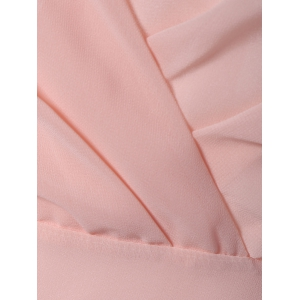 Petal Sleeve Knee Length Plunging Neck Pleated Dress - PINK L