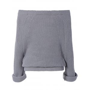 Pure Color Off The Shoulder Sweater - GRAY ONE SIZE