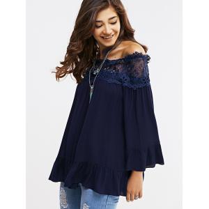 Off-The-Shoulder Bell Sleeve Lace Blouse -