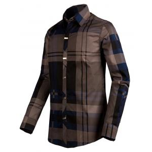Plaid Snap Button Turn-down Collar Long Sleeve Shirt For Men -