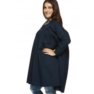 Chic Plus Size Single Breasted Swing Blouse -