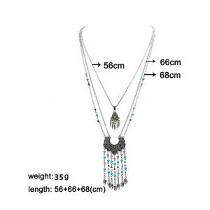 Ethnic Embossed Fringed Layered Necklace - SILVER