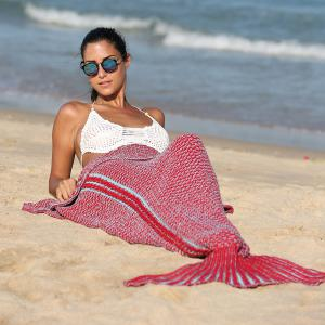 High Quality Knitting Mermaid Tail Style Soft Blanket - RED