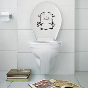 Cartoon Lovely Tissue Cattle Wall Stickers For Toilet - BLACK