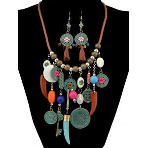 Vintage Coin Wolf Tooth Fringe Necklace and Earrings -