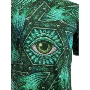 3D Geometric and Print Round Neck Short Sleeve T-Shirt For Men - GREEN M