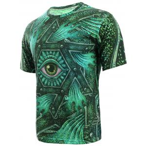 3D Geometric and Print Round Neck Short Sleeve T-Shirt For Men - GREEN XL