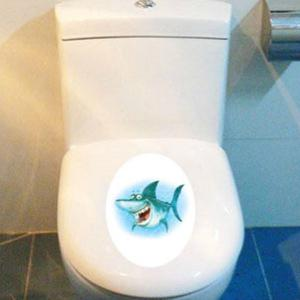 Cartoon Shark Waterproof Wall Art Stickers For Toilet - COLORMIX
