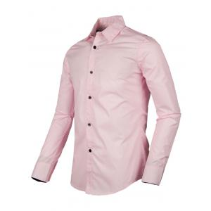 Solid Color Turn-down Collar Long Sleeve Shirt For Men -