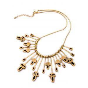 Retro Cut Out Leaf Statement Necklace -