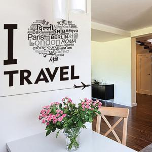 Waterproof Creative Words Letters I Love Travel Wall Stickers -