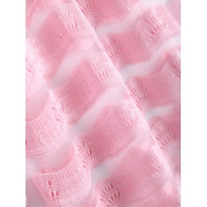 Simple Wave Stripe Candy Pure Color Semi Sheer Cardigan -
