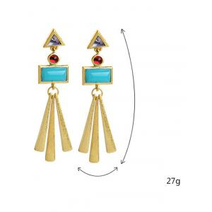 Pair of Rectangle Matchstick Tassel Faux Gem Earrings -
