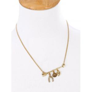 Rhinestone Lucky Clovers Etched Round Necklace -
