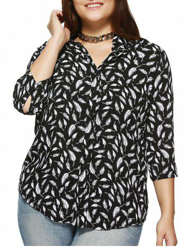 Sale Plus Size Feather Printed 3/4 Sleeve Shirt